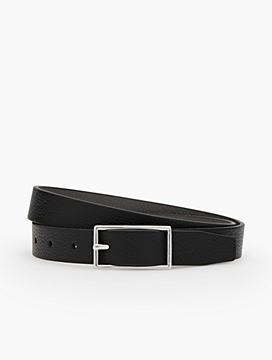 Womans Exclusive Reversible Harness-Buckle Pebbled Leather Belt