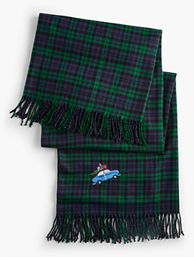 Fringed Plaid Embroidered-Car Blanket
