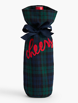 "Plaid ""Cheers"" Wine Bag"