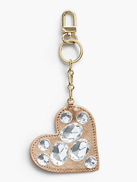 Bejeweled Leather Heart Keychain