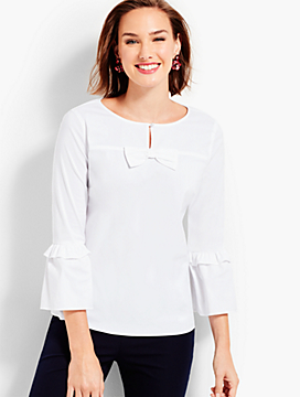 Bell-Sleeve Top With Bow