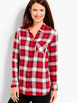 The Long Drapey Shirt - Festive Plaid