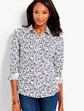 Classic Button-Front Shirt - Swirly Bows