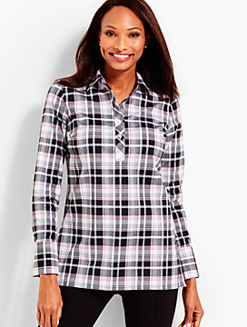 The Longer-Length Wrinkle-Resistant Popover - Classic Plaid