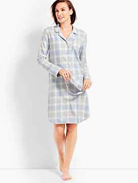 Metallic Plaid Flannel Sleep Shirt & Eye Mask