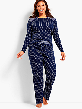 Womans Exclusive Dots & Stripe-Detailed PJ Set