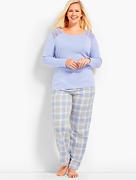 Womans Exclusive Shimmer Plaid PJ Set
