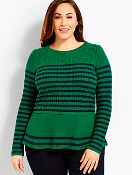 Striped Cable Peplum Sweater