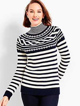Cable Jacquard Mockneck Sweater