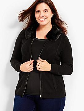 Faux-Fur Collar Zip-Front Cardigan