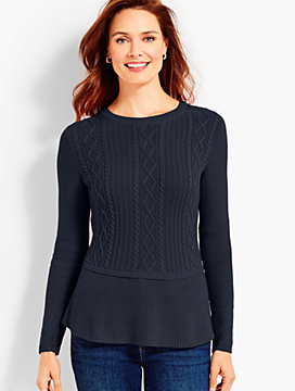 Cable Peplum Sweater