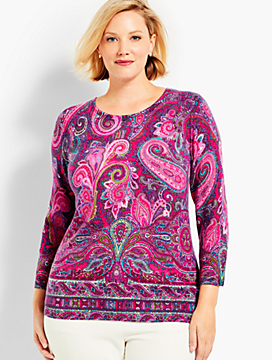 Vineyard Paisley Cashmere Sweater