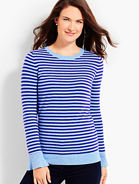 Striped Flounce-Sleeve Crewneck Sweater