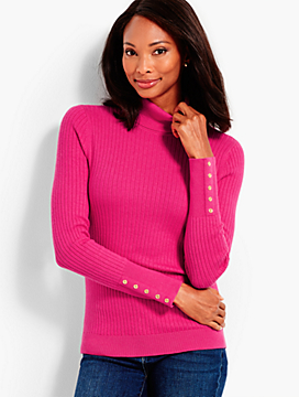 Button-Cuff Cotton Turtleneck