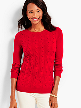 Cable Cashmere Crewneck Sweater