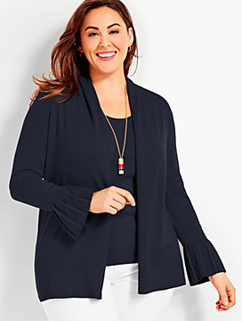 Pleated-Cuff Open Cardigan