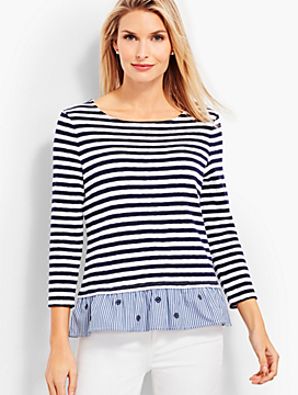 Flounce-Hem Stripe Top Crewneck