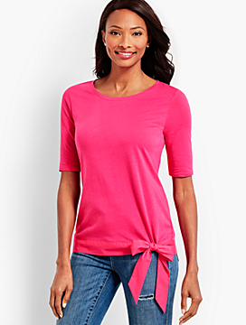 Elbow-Sleeve Tee With Striped Hem and Bow