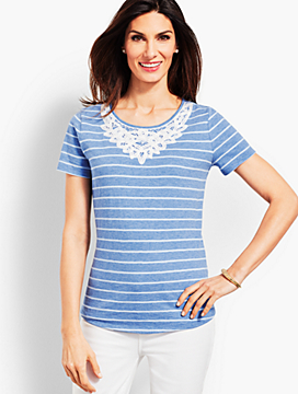 Battenburg Lace Tee - Stripe