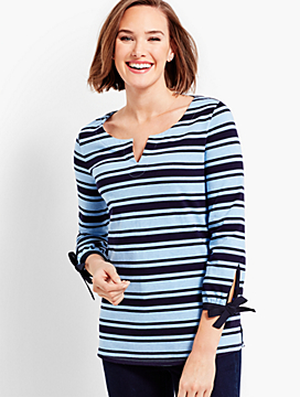 Split-Neck Tunic - Azalea Stripe