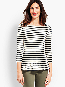 Laurel Stripe Peplum Tee