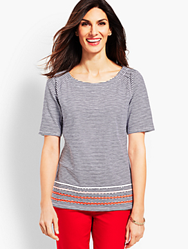 Pleat Sleeve Tee - Stripe