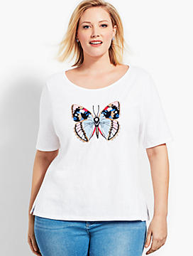 Embellished Butterfly Boatneck Tee