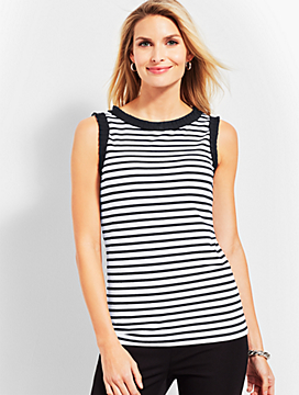 Grosgrain-Ribbon-Trim Shell - Stripe