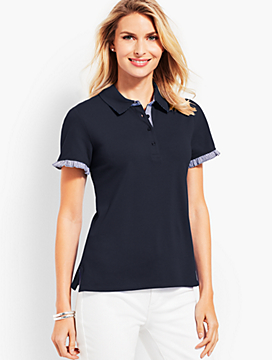 Gingham Ruffle Sleeve Polo