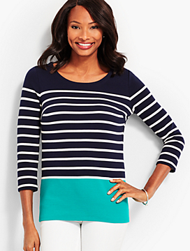 Bateau-Neck Stripe Top