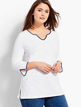 Split-Neck Tunic with Embroidery