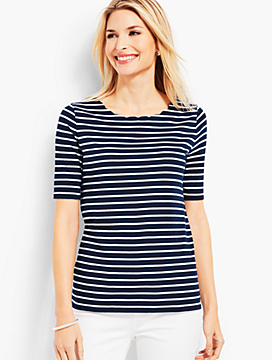 Scallop-Neck Elbow-Sleeve Tee-Stripe
