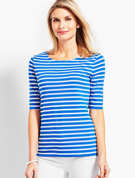 Scallop-Neck Elbow-Sleeve Tee - Stripe