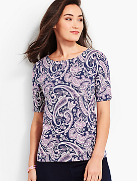 Village Scallop-Neck Tee - Paisley
