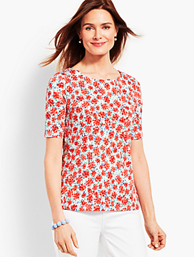 Scalloped-Edge Tee - Ditzy Clusters