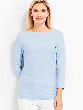 Heathered Braided-Stripe Bateau Tee