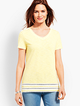 Crochet-Trim Stripe Tee