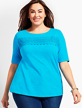 Charleston Lace Boatneck Tee