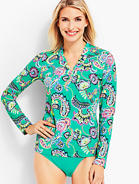 Pop Paisley Ruffle-Neck Rash Guard