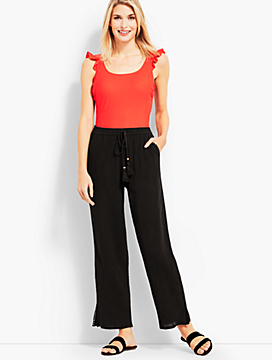 Crinkle-Cotton Beach Pant