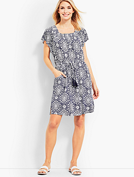 Dot Tile Smocked-Neck Cover-Up