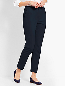 Scallop Pocket Slim Ankle Pant
