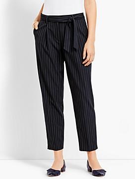 Boardwalk Stripe High-Waist Slim Ankle Pant