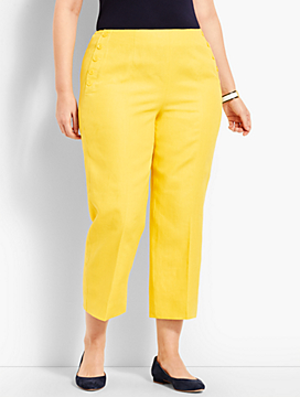 Talbots Linen Chelsea Straight-Leg Crop - Lined