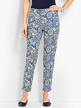 Scallop Pocket Slim Ankle Pant - Paisley