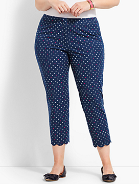 Plus Size Exclusive Talbots Hampshire Scallop Crop Pant - India Ink-Magenta