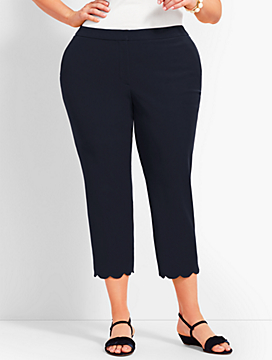 Plus Size Exclusive Talbots Hampshire Scallop Crop Pant - Curvy Fit