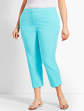 Womans Exclusive Talbots Hampshire Scallop Crop Pant - Curvy Fit