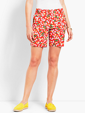"7"" Spring Posies Girlfriend Chino Short"