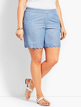 Womans Exclusive Chambray Scallop Short